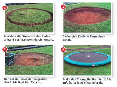 Bodentrampolin BERG InGround Elite 380 grau